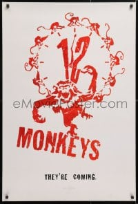 5t007 12 MONKEYS teaser 1sh 1995 Bruce Willis, Brad Pitt, Stowe, Terry Gilliam directed sci-fi!