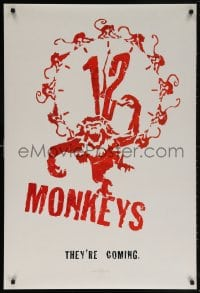 5t008 12 MONKEYS teaser DS 1sh 1995 Bruce Willis, Brad Pitt, Stowe, Terry Gilliam directed sci-fi!
