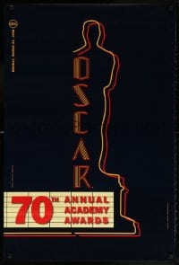 5t003 70TH ANNUAL ACADEMY AWARDS 24x36 1sh 1998 image of the Oscar Award as a neon theater sign!
