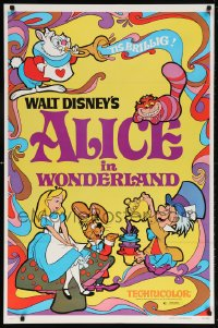 5t026 ALICE IN WONDERLAND 1sh R1981 Walt Disney Lewis Carroll classic, wonderful art!