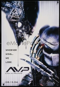 5t032 ALIEN VS. PREDATOR style B teaser DS 1sh 2004 Alien image, whoever wins... we lose!