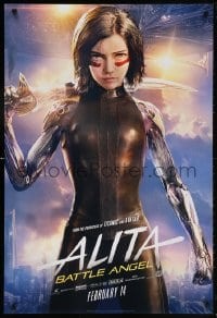 5t034 ALITA: BATTLE ANGEL style B teaser DS 1sh 2019 cool image of the CGI character with sword!