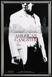 5t040 AMERICAN GANGSTER teaser 1sh 2007 close-up of Russell Crowe, Ridley Scott directed!