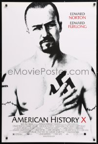 5t041 AMERICAN HISTORY X DS 1sh 1998 B&W image of Edward Norton as skinhead neo-Nazi!