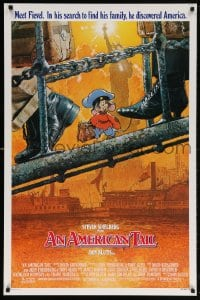 5t043 AMERICAN TAIL 1sh 1986 Steven Spielberg, Don Bluth, art of Fievel the mouse by Struzan