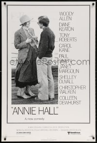 5t048 ANNIE HALL revised 1sh 1977 full-length Woody Allen & Diane Keaton, a new comedy!