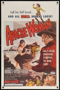 5t054 APACHE WOMAN int'l 1sh 1955 art of naked cowgirl in water pointing gun at Lloyd Bridges!