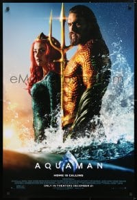 5t056 AQUAMAN advance DS 1sh 2018 DC, Mamoa in title role with sexy Amber Heard, home is calling!