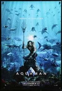 5t058 AQUAMAN teaser DS 1sh 2018 DC, Jason Mamoa in title role with great white sharks and more!