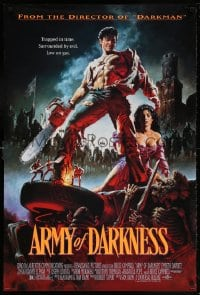5t059 ARMY OF DARKNESS 1sh 1993 Sam Raimi, great artwork of Bruce Campbell with chainsaw hand!