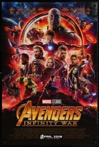 5t066 AVENGERS: INFINITY WAR advance DS 1sh 2018 Robert Downey Jr., montage, coming in April 2018!