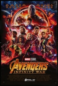 5t065 AVENGERS: INFINITY WAR advance DS 1sh 2018 Robert Downey Jr., montage, coming April 27th!