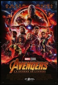 5t067 AVENGERS: INFINITY WAR int'l French language advance DS 1sh 2018 Robert Downey Jr., montage!