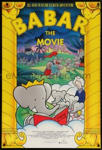 5t069 BABAR: THE MOVIE 1sh 1989 Jean & Laurent de Brunhoff, cool art of classic cartoon elephants!