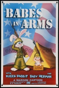 5t070 BABES IN ARMS Kilian 1sh 1988 Roger Rabbit & Baby Herman in Army uniform with rifles!