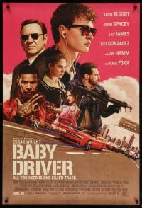 5t071 BABY DRIVER advance 1sh 2017 Ansel Elgort, artwork by Rory Kurtz!