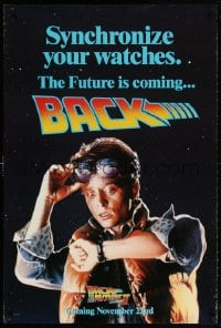 5t074 BACK TO THE FUTURE II teaser 1sh 1989 Michael J. Fox as Marty, synchronize your watches!