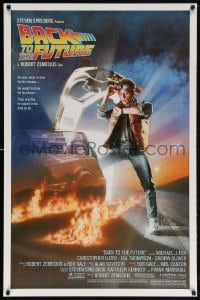 5t073 BACK TO THE FUTURE studio style 1sh 1985 art of Michael J. Fox & Delorean by Drew Struzan!