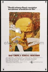 5t077 BAD TIMING 1sh 1980 Nicholas Roeg, cool art of Art Garfunkel & sexy Theresa Russell!