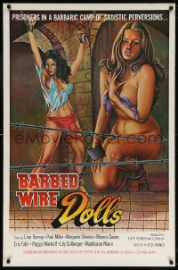 5t079 BARBED WIRE DOLLS 1sh 1977 Jesus Franco, sexy art of barely-clothed female prisoners!