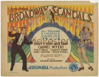 5w029 BROADWAY SCANDALS TC 1929 Sally O'Neill, Jack Egan, all-talking singing dancing revue, rare!