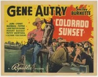 5w040 COLORADO SUNSET TC 1939 Gene Autry sitting on log by Champion & playing guitar, Smiley!