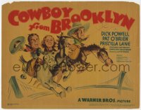 5w043 COWBOY FROM BROOKLYN TC 1938 art of Dick Powell, Pat O'Brien & Priscilla Lane on horse!