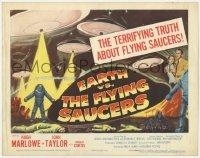 5w059 EARTH VS. THE FLYING SAUCERS TC 1956 Harryhausen sci-fi classic, cool art of UFOs & aliens!
