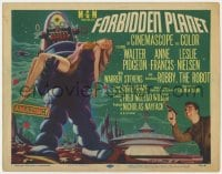 5w067 FORBIDDEN PLANET TC 1956 great artwork of Robby the Robot carrying Anne Francis, classic!