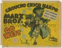 5w073 GO WEST TC 1940 best different art of cowboys Groucho, Chico & Harpo Marx by Al Hirschfeld!