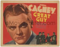 5w075 GREAT GUY TC 1936 wonderful super close portrait of James Cagney, who's fighting crooks!