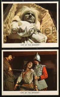6d035 CRY OF THE BANSHEE 8 color English FOH LCs 1970 Edgar Allan Poe probes new depths of terror!