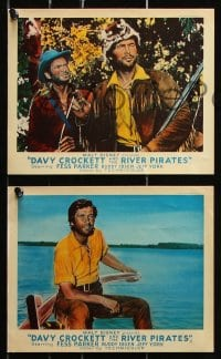 6d036 DAVY CROCKETT & THE RIVER PIRATES 8 color English FOH LCs 1956 Disney, Fess Parker & Buddy Ebsen