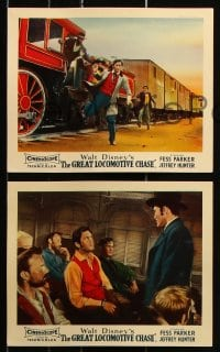 6d044 GREAT LOCOMOTIVE CHASE 8 color English FOH LCs 1956 Disney, Fess Parker, Jeff Hunter, trains!