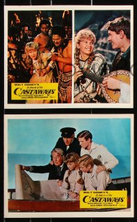 6d048 IN SEARCH OF THE CASTAWAYS 8 color English FOH LCs 1962 Jules Verne, Hayley Mills in adventure!