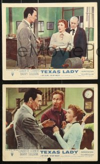 6d074 TEXAS LADY 8 color English FOH LCs 1955 Claudette Colbert, Barry Sullivan, western images!