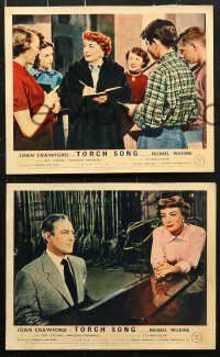 6d075 TORCH SONG 8 color English FOH LCs 1954 tough baby Joan Crawford, a wonderful love story!