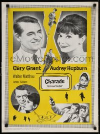 6f036 CHARADE Canadian 1963 art of tough Cary Grant & sexy Audrey Hepburn, completely different!