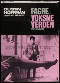 6f078 GRADUATE Danish R1970s classic image of Dustin Hoffman & sexy leg with pink design!