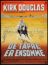 6f080 LONELY ARE THE BRAVE Danish 1962 different art of Kirk Douglas by Aage Lundvald!