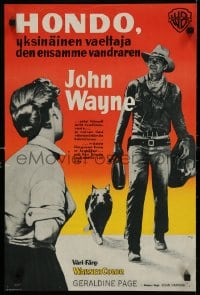 6f242 HONDO Finnish 1954 John Wayne has the heat of the plains in his veins & a stain on his name!