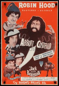6f244 JACK & THE BEANSTALK Finnish R1950s Abbott & Costello, their first picture in color!