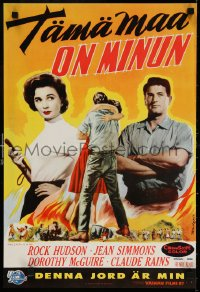 6f266 THIS EARTH IS MINE Finnish 1959 Rock Hudson, Jean Simmons, Dorothy McGuire, Claude Rains!
