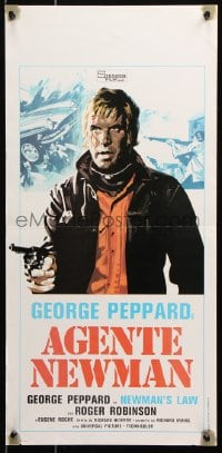6f920 NEWMAN'S LAW Italian locandina 1976 cool completely different art of George Peppard with gun!