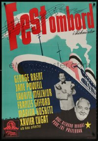 6f045 LUXURY LINER Swedish 1949 George Brent & Jane Powell, nights of romance & revelry!