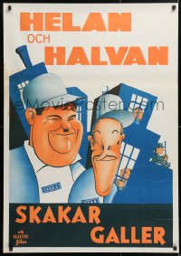 6f046 PARDON US Swedish R1940s wonderful different art of convicts Stan Laurel & Oliver Hardy!