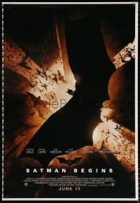 6g549 BATMAN BEGINS printer's test advance DS 1sh 2005 June 17, Bale w/ bats in title role!