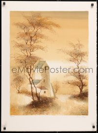 6g033 BERNARD CHAROY signed #20/75 22x30 art print 1980s great art of house in forest!