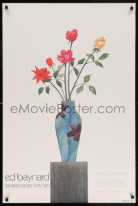 6g212 ED BAYNARD 25x38 museum/art exhibition 1981 cool still life artwork of flowers and vase!