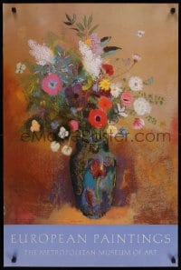 6g215 EUROPEAN PAINTINGS 24x36 museum/art exhibition 1985 artwork of vase and flowers by Redon!